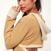 Open Back Tan Backless Hoodie