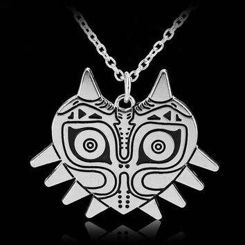 Legend of Zelda Majora's Mask Necklace 3D Silver Plated Pendant Cosplay Jewelry GF gift
