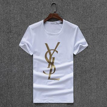 YSL Women or Men Fashion Casual Letter Print Shirt Top Tee
