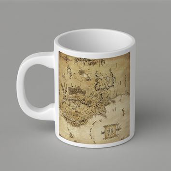 Gift Mugs | Movie Lord Of The Ring Vintage Epic Middle Earth Map Ceramic Coffee Mugs