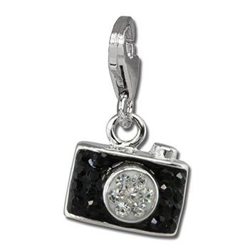 SilberDream Glitter Charm Camera with black Czech crystals 925 Sterling Silver Charms Pendant for Charms Bracelet Necklace or Earring GSC560S