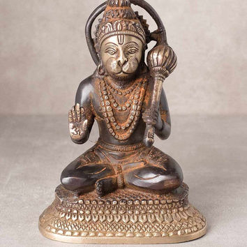 Antiqued Brass Hanuman Statue