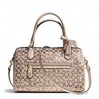 POPPY EAST/WEST SATCHEL IN SEQUIN SIGNATURE C FABRIC