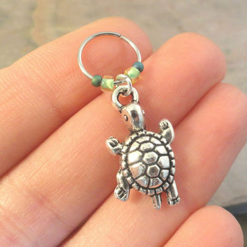Turtle Beaded Cartilage Hoop Earring - You Choose Colors