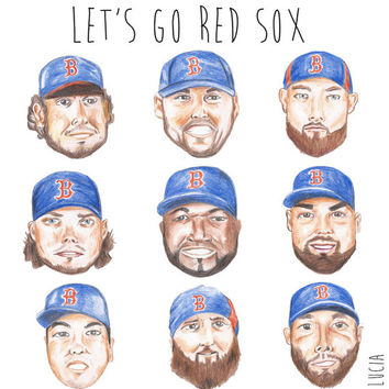 Let's Go Red Sox Colored Pencil Print - 2013 World Series - Red Sox Nation - Illustration - Portrait - Baseball - Folded Card