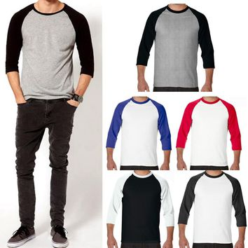 Men 3/4 Sleeve Plain T-Shirt Baseball Raglan Jersey Spo rts Fashion Casual Tee