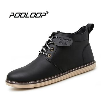 POOLOOP New Autumn Mens Casual Combat Boots Lace Up Fashion Leather Boots Flat Mens Waterproof Shoes Black Cowboy Combat Booties