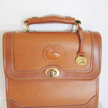 Vintage Dooney and Bourke purse bag briefcase satchel tote leather handbag Dooney & Burke camel luggage tan color