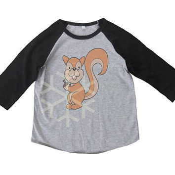 Squirrel shirt acorn nuts toddler animal shirt- 3/4 sleeve tshirt -Child shirt -Raglan shirt- Baseball tshirt -Kids tshirts