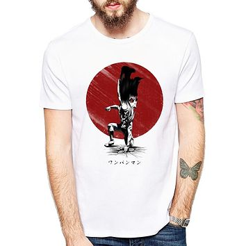 One Punch Man Printed men T shirt Fashion cool Anime confortable men's Lethal Punch Tshirt casual t-shirt for men