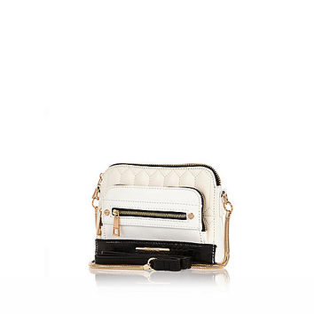 River Island Womens White mini quilted cross body bag