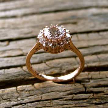 White Sapphire Engagement Ring in 14K Rose Gold with Single Cut Diamonds in Antique-Style Setting Size 4.5