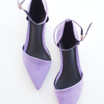 Lavender Purple Pointy Ankle Strap Flats – Goodnight Macaroon