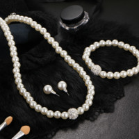 New bridal sweater chain necklace kit wild diamond pearl necklace earrings bracelet sets