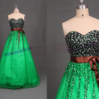 2014 long green tulle prom dresses with crystals,elegant beaded gowns for holiday party,cheap stunning homecomng dress hot.