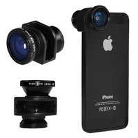 3in1 Black Camera Lens Kit - Fish Eye+Wide Angle+Macro Lens - for iPhone 5 5G