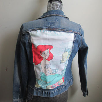 Vintage Little Mermaid Womens 90s Denim Jacket