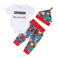 Cartoon Baby Boys Outfits Tops Cotton Short Sleeve Romper +Pants +Hat Summer Clothes