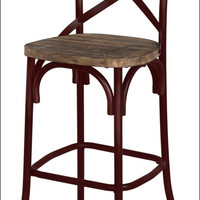 Natalie KD Metal Bar Stool, Distressed Red