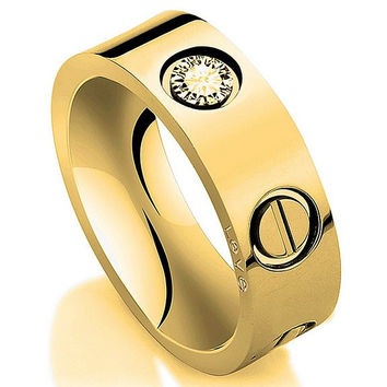Gold plated Stainless Steel Screw Head fashion Ring