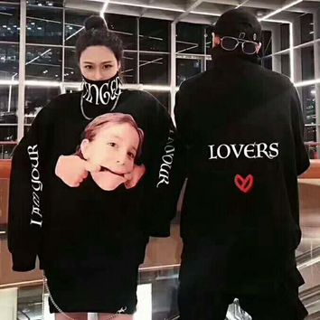 MAMC Fashion Casual Long Sleeve A Child Face and Monogram Print High Neck Sweater G-AGG-CZDL