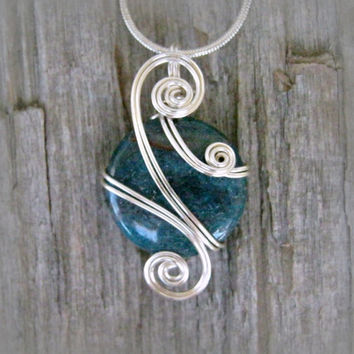 Teal Blue Apatite Silver Wire Wrapped Pendant Necklace