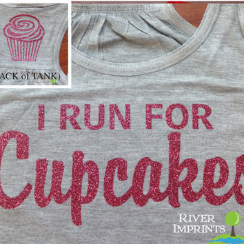 25% off In Stock Sale, Size Small, CUPCAKES Flowy Tank, 2-sided Sparkle Workout / Runner Racerback Tank, I Run For Cupcakes