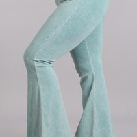 Chatoyant Plus Size Mineral Wash Flare Pants in Mint