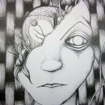 The RETURN of the WANDERER: Original pen and ink drawing, surreal artwork, black and white illustration, 9x12 inches