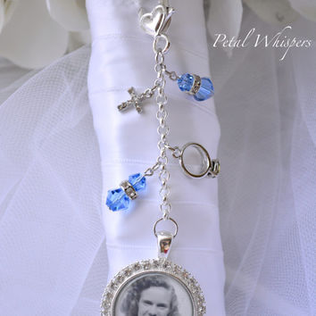 Something Blue Bouquet Charm - Bridal Bouquet Photo Charm -Bridal Bouquet Charm - Wedding Photo Charm - Bridal Gift - Bouquet Picture Charm