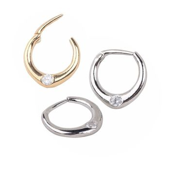 LS 1 Pair Surgical Steel Titanium Crystal Fake Nose Ring Hoop Piercing Septum Rings Nose Ring And Studs Body Jewelry For Women