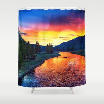Sunset at Yellowstone Shower Curtain by minx267