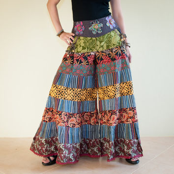 Unique Gypsy Patchwork Pants Flora Printed Cotton and Nepali Stripe Pattern (SS-2)