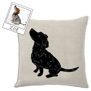 Custom Pet Silhouette Throw Pillow Cover by Tote Tails