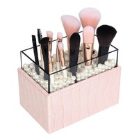 JackCubeDesign Leather Makeup Brush Cosmetic Lipstick Pencil Pen Holder Organizer Storage Box with White Pearls and Acrylic Cover(Pink, 3.7 x 5.7 x 4.3 inches)-MK283B