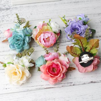 Korean Style Bridal Flower Leopard Hair Clip Hairpins Barrette Wedding Decoration Hair Accessories Beach Hairwear