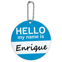 Enrique Hello My Name Is Round ID Card Luggage Tag