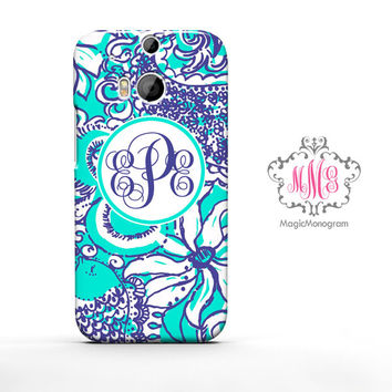 Sea Foam Montauk Lilly Pulitzer Monogram HTC Case M9, M8 Case