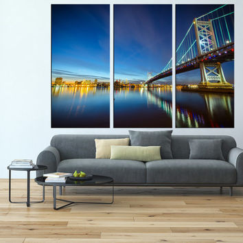 Philadelphia canvas art, Ben franklin bridge skyline art Print, extra large wall art, canvas art for large wall,  modern wall decor t125