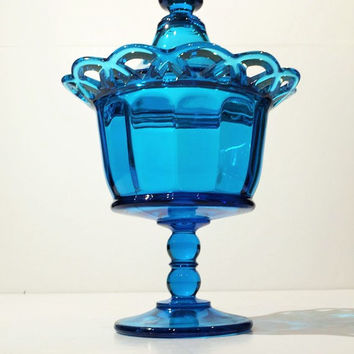 Imperial Blue Glass Open Lace Covered Bowl, Blue Glass Candy Bowl, Vintage Candy Jar