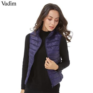 women solid Ultra Light duck down vests basic warm winter loose waistcoat pockets vest sleeveless jacket