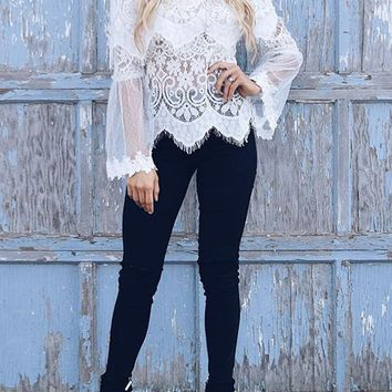 White Lace Off Shoulder Bell Sleeve Wavy Edge Sweet Cute T-Shirt