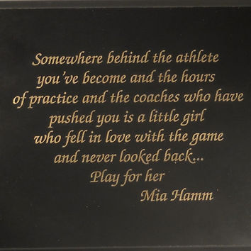 HAMM CHRISTMAS GIFT Play for Her U S A Olympic Soccer Star Mia Hamm Gloss Black Finish 7x9
