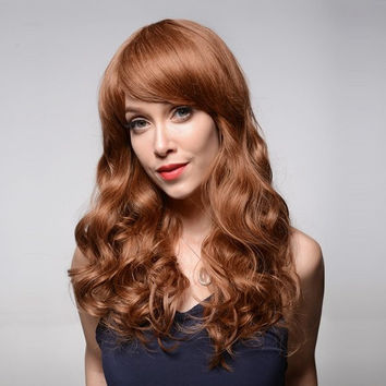 Long Curly Human Hair Brown Wig Side Bang Wave Virgin Remy Mono Top Capless 8 Colors
