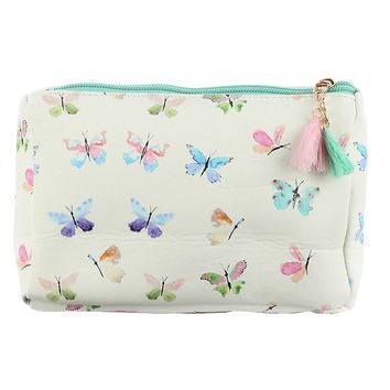 Mulit Color Butterfly Print Vinyl Pouch Wallet Bag Accessory