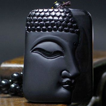 ac spbest High Quality Unique Natural Black Obsidian Carved Buddha Lucky Amulet Pendant Necklace For Women Men pendantsFashion Jewelry