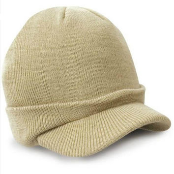 Men Cap   Warm Snapback Army Hat Warm Knitted Hat Mens Cadet Cap Bones Masculino chapeau homme SM6