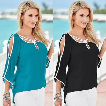 Fashion Women Summer Loose Top Half Sleeve Ladies Casual Blouse