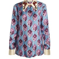 GG Wallpaper-print embellished collar silk blouse | Gucci | MATCHESFASHION.COM US