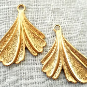 Two raw brass leaf stampings, art nouveau, deco, retro, stylized Ginko leaves, pendants, charms, earrings 32mm in by 25mm, USA made, 6602